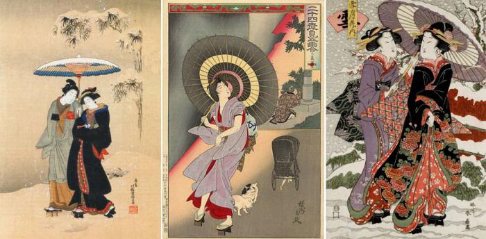 Зонт – обычный аксессуар знатных людей в японской классической живописи